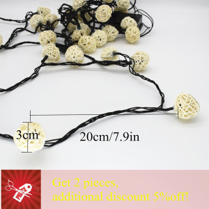 Image 5 - LED Light String 6M 30 LED Garland Solar String Lights Rattan Ball Fairy String Light For Holiday Christmas Outdoor Decoration