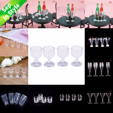 4Pcs 1/12 Mini Resin Transparent Cup Simulation Furniture Model Toys For Doll House Decoration Dollhouse Miniature Accessories(China)