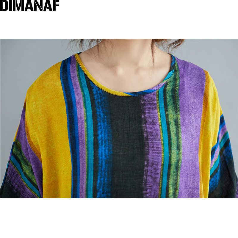 DIMANAF D'été T-Shirts De Grande Taille Vintage Femmes Vêtements De Base Dame Tops Tuniques Tee Shirt Coton Lin Impression Lâche tshirt Rayé