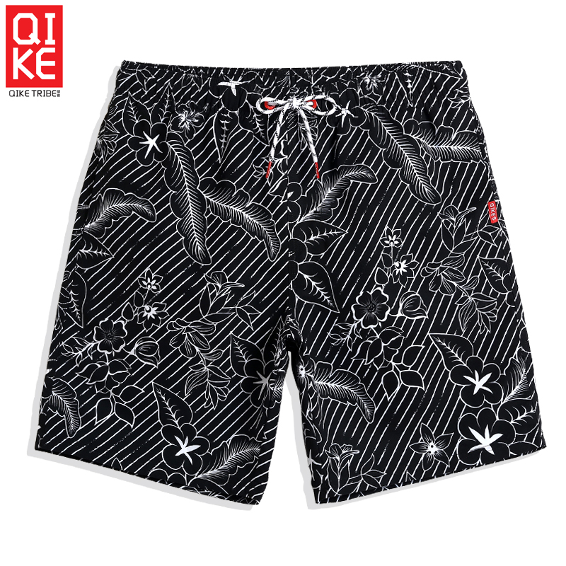 QIKE Summer Men's 2019 New Swimming trunks Coconut tree Quick dry surfing Sexy   Board     shorts   joggers printed briefs plavky