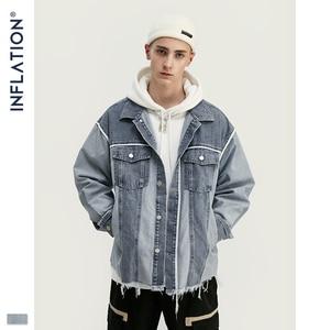 Image 2 - Inflação denim jaqueta masculina solto ajuste jeans jeans jaqueta poker oversized streetwear denim jaqueta em stonewash azul 9717 w