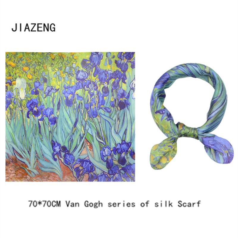 <font><b>70cm</b></font>*<font><b>70cm</b></font> Women Vincent Van Gogh Oil Painting Printed <font><b>Silk</b></font> <font><b>Scarf</b></font> Women shawls Girl Wraps Hair Tie bandana image