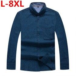 Camisas de vestir de algodón de talla grande 8XL 7XL nueva primavera otoño camisa Casual de alta calidad para hombre, camisas casuales de ajuste delgado para hombres