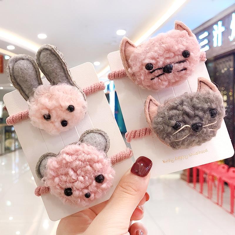 Children Cute Nylon Rabbit Bear Dog Cat Elastic Hair Bands Girls Ponytail Holder Scrunchies Rubber Bands Kids Hair Accessories