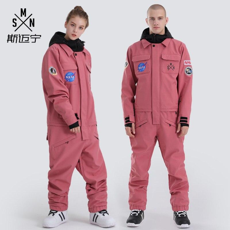 SMN Brand Women Men Ski Suit One Piece Snowboard Suit Windproof Waterproof Outdoor Sport Wear Winter Suit Unisex Skiing Clothing
