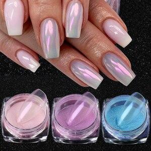 0.5g/Box Aurora Nail Powder Glitter Shiny Transparent Chameleon Pigment Dust Mermaid Mirror Chrome Nail Art Decorations TR1786-1