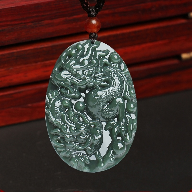 Certificate Natural Hetian Jade Dragon Pendant Necklace Charm Jewellery Fashion Accessories Hand-Carved Man Woman Amulet Gifts