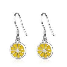 Elegant Lemon Fruit 925 Sterling Silver Female Drop Earrings Promotion Jewelry Women Birthday Gift Shipping