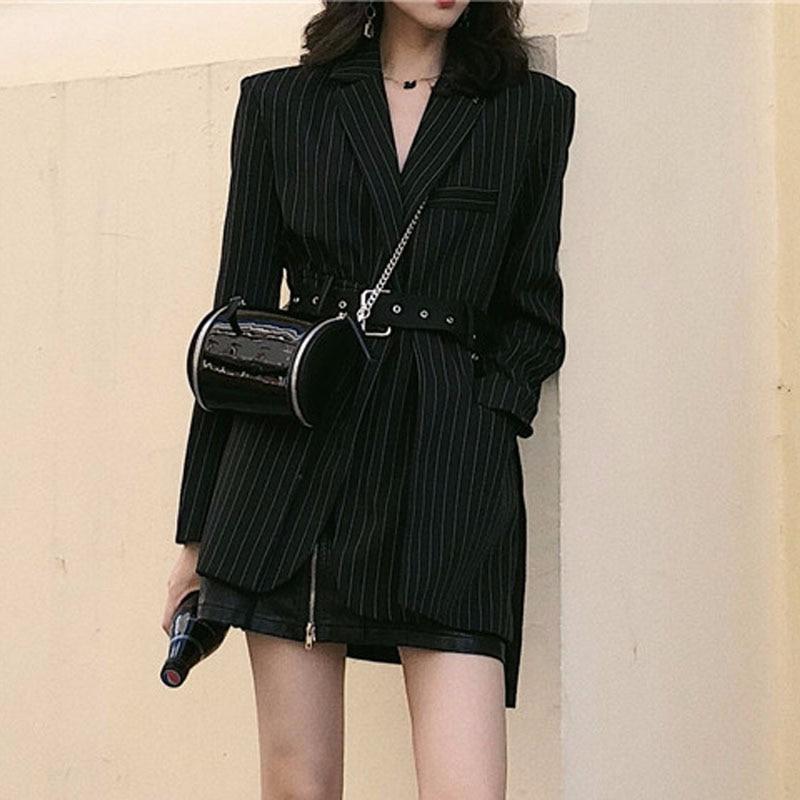 Fashion Striped Sashes Female Blazer Belt decoration Gothic punk tops women jackets Black 2020 high street coat Suit Spring XZ27