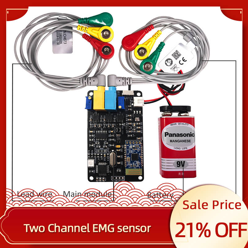 <font><b>EMG</b></font> <font><b>sensor</b></font> 2 channel Muscle <font><b>Sensor</b></font> Module serial port communication secondary development available wearing device image