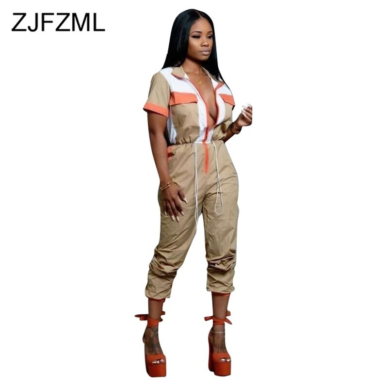 Elastic Waist Sexy Rompers Women   Jumpsuit   Turn Down Collar Short Sleeve Bodycon Overall Casual Front Zipper Full Length Bodysuit