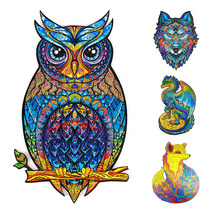 Unique Wooden Puzzles Jigsaw For Adult Unique Shape Animal Owl 3D Puzzle For Kids Educational Puzzle Fabulous Interactive Gifts