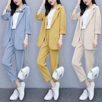 Women Spring autumn Casual 2 piece Suits sets suit Plus Size Solid Cotton and linen Blazer Coat Harem Pants Suits Casual Office
