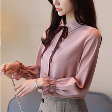 Korean Fashion Chiffon Women Blouses Long Sleeve Pink Women Shirts Plus Size XXL Blusas Femininas Elegante Ladies Tops new 6 inch for supra m621g tablet capacitive touch screen panel digitizer glass sensor replacement free shipping