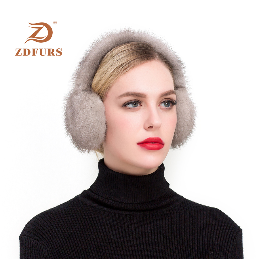 ZDFURS*Fashion Real Mink Fur Earmuffs Women Comfortable Warm Earmuffs Ear Warmers For Girls  Winter Mink Ear Protector