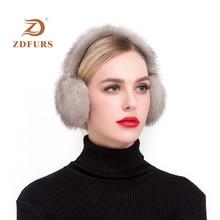 ZDFURS*Fashion Real mink Fur Earmuffs Women Comfortable Warm Ear Warmers For Girls  Winter Protector