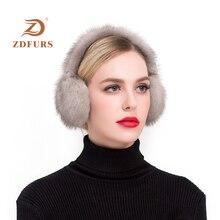 ZDFURS*Fashion Real mink Fur Earmuffs Women Comfortable Warm Earmuffs Ear Warmers For Girls  Winter mink Ear Protector