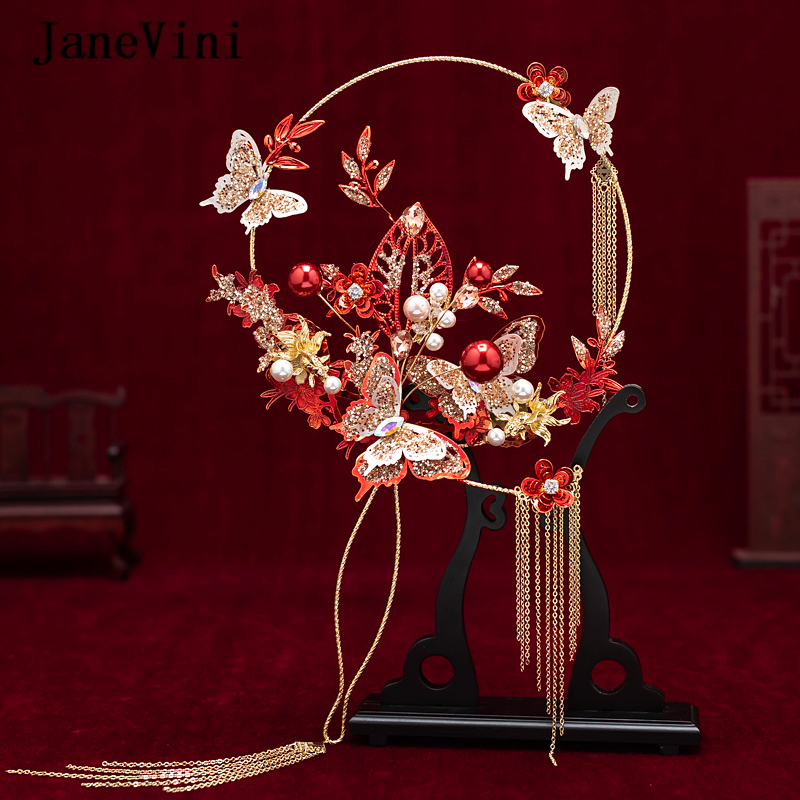 JaneVini 2020 Newest Designer Chinese Bridal Hand Bouquets Fans Handmade Red Metal Butterfly Flowers Wedding Jewelry Accessories