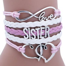 SISTER Kids Heart chain Bracelet for Girls Friendship Bracelets Jewelry Multi-layer Charm Bracelet Fashion Jewelry