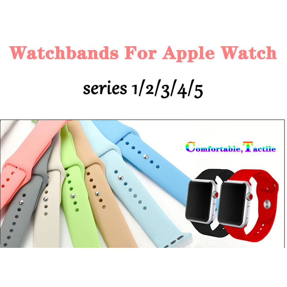 For Apple Watchbands 38 42mm  44mm 40mm Sport Silicone Soft  Bracelet Strap For Iwatch Series 1 2 3 4 5 Wristbands Accessories