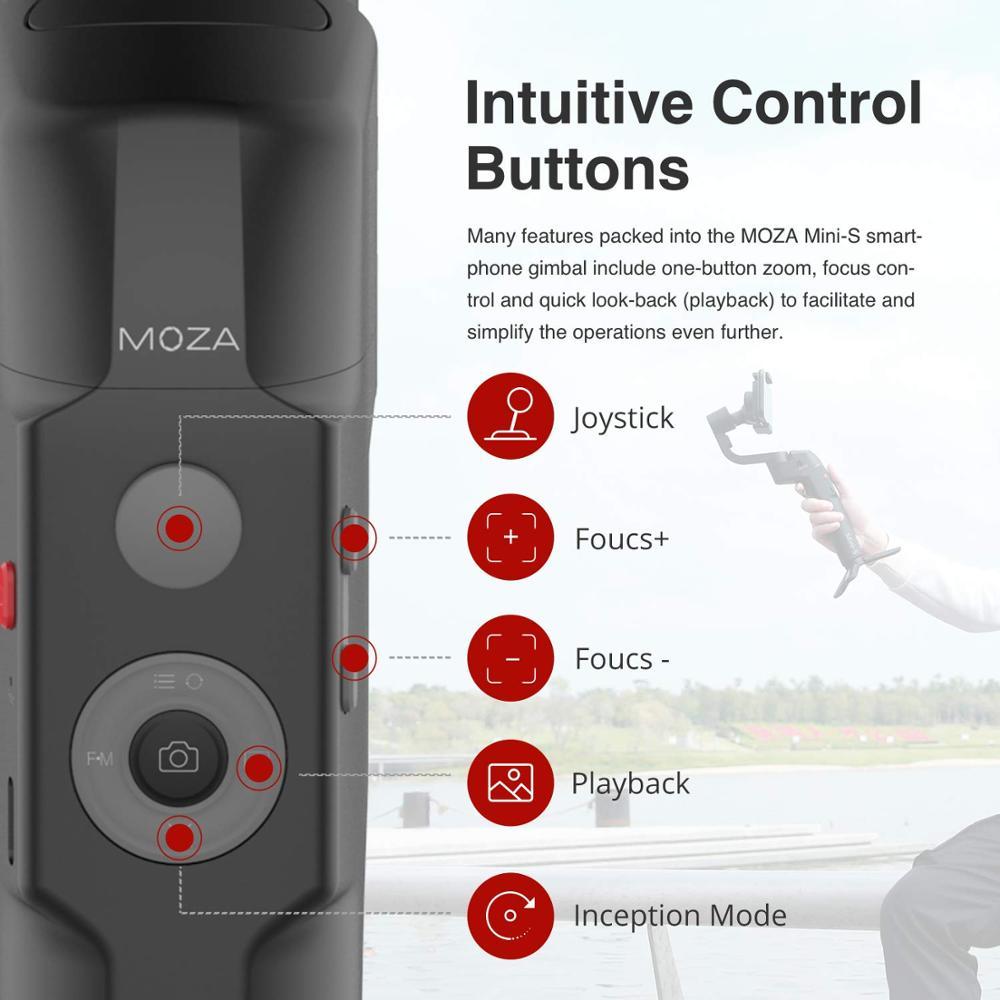 Image 3 - MOZA MINI S 3 Axis Foldable Pocket Sized Handheld Gimbal  Stabilizer MINI S for iPhone X 11 Smartphone GoPro VS MINI MI VIMBLE  2Handheld Gimbal
