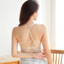 Fashion Solid Color Women Hollow Out Bralette Beauty Back Lace Underwear Sexy Vest Female Add pad Wireless Bra Seamless Lingerie