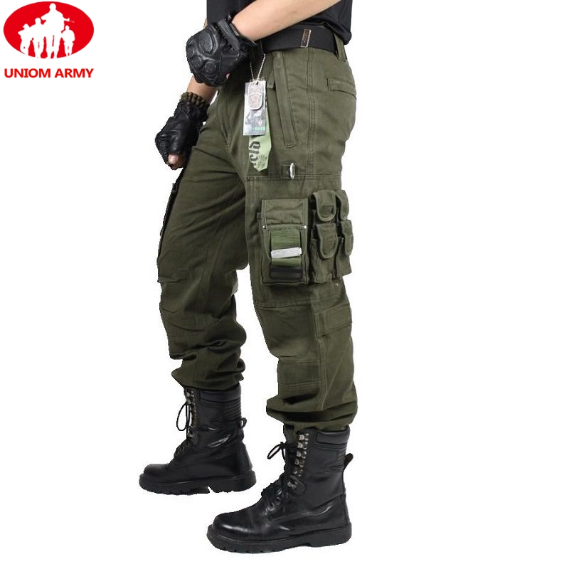 Trousers Overalls Cargo-Pants Pocket Work-Wear Army-Clothing Combat MILITARY Many Mens title=