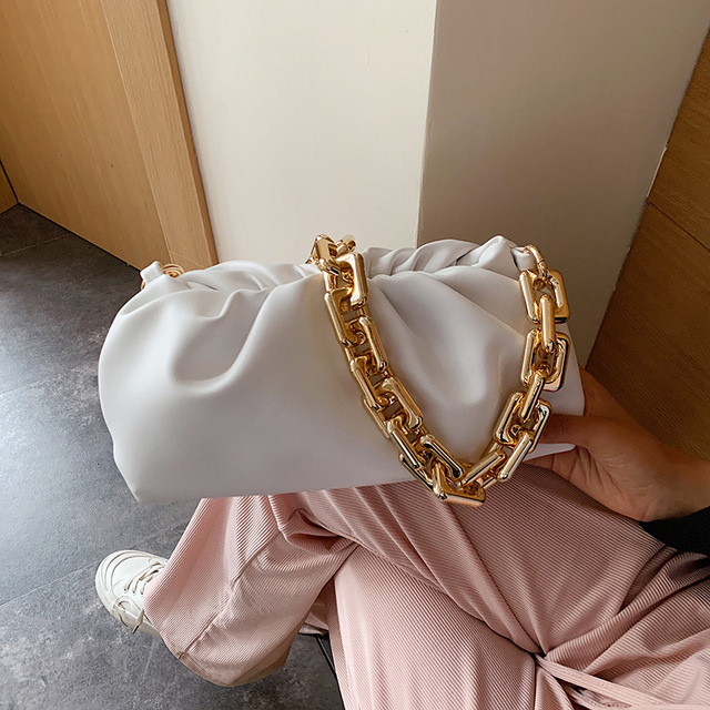 Luxury Thick Gold Chains Cloud Bags for Women 2021 Fashion Soft Leather Women's Designer Handbags Trend Crossbody Shoulder Bag 2