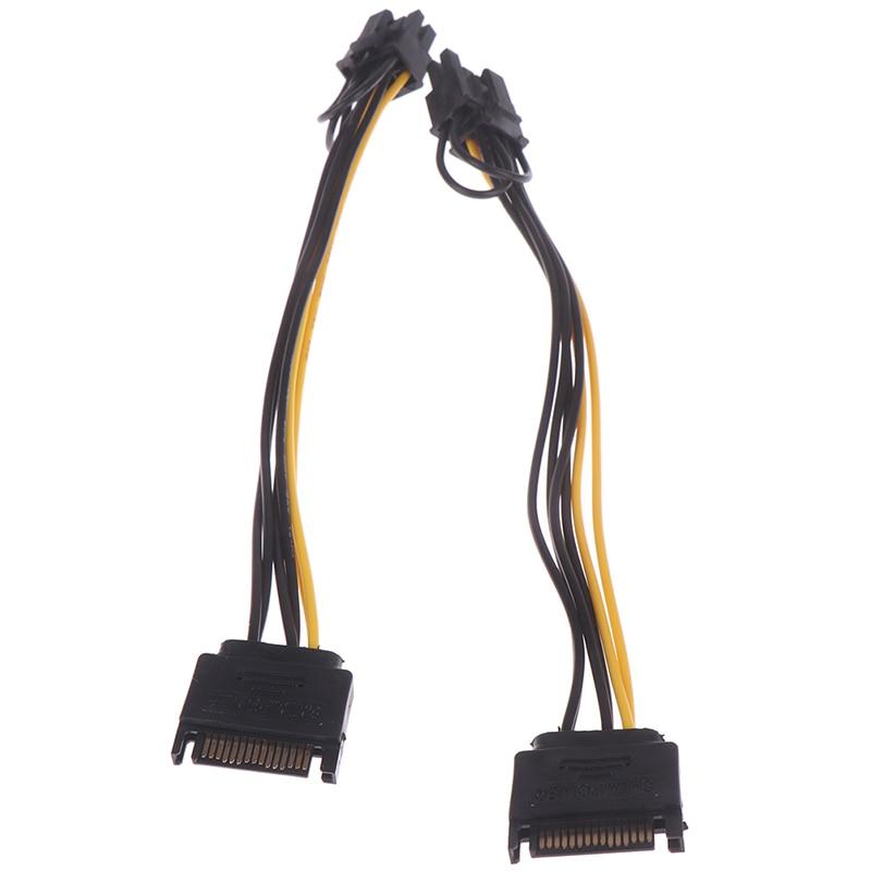 1 шт. 15pin SATA Male to 8pin(6 + 2) PCI-E кабель питания 20 см SATA кабель 15-контактный к 8-контактный кабель провод для графической карты