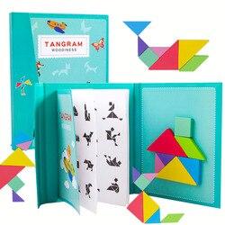 Rompecabezas magnético 3D para niños, Tangram, juego de entrenamiento, aprendizaje Montessori, Juguetes Educativos de madera para niños