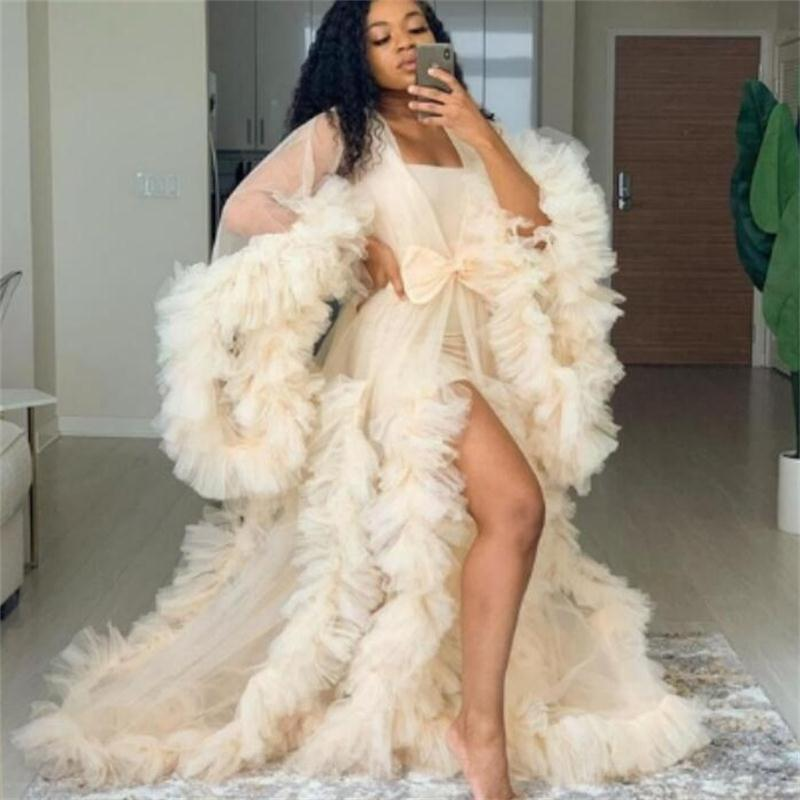 Elegant Ruffles Photography Dress Plus Size Night Robe Women Party Celebrity Sleepwear Fashion Nightgown Robes