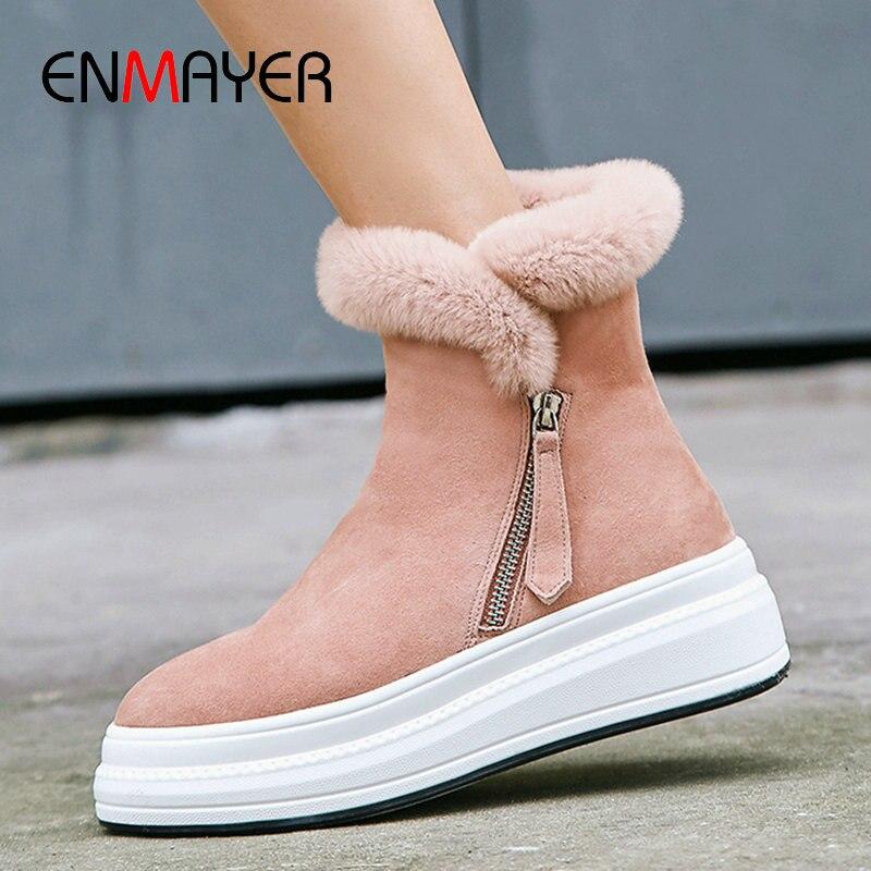 ENMAYER 2019 mode enfant daim bottines pour femmes bout rond plat avec talon Zip hiver neige bottes en peluche femmes chaussures taille 34 40