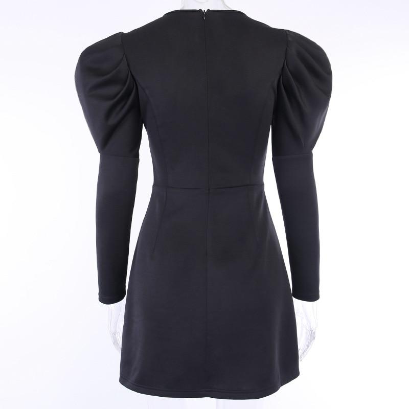 Puff Long Sleeve Autumn Winter Dress Women V-Neck Black Sexy Dress Mini Short Jurken woman clothes Ladies Office Dresses Vestido