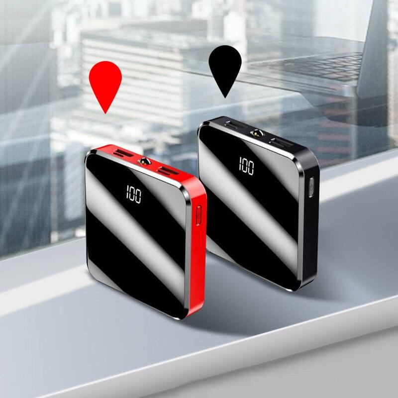 Mini banco de potência 20000mah tela espelho portátil carregador power bank bateria externa para iphone 11 samsung xiaomi 9 telefones