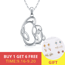 Winter Collection 925 Sterling Silver Lovely Penguin Mom and Kid Animal Necklace Fine Jewelry for Women Mothers Day gift
