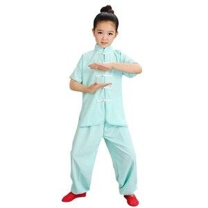 Image 2 - 판매 Wushu 제복 아이들 중국 전통 의류 아이 무술 제복 Kung Fu 한 벌 여아 소년 단계 성과 세트