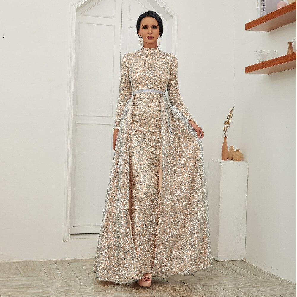 Robe en or Rose 2019 été femmes élégantes Sequin bal Sexy robes de soirée femme taille haute longue robe moulante fendue