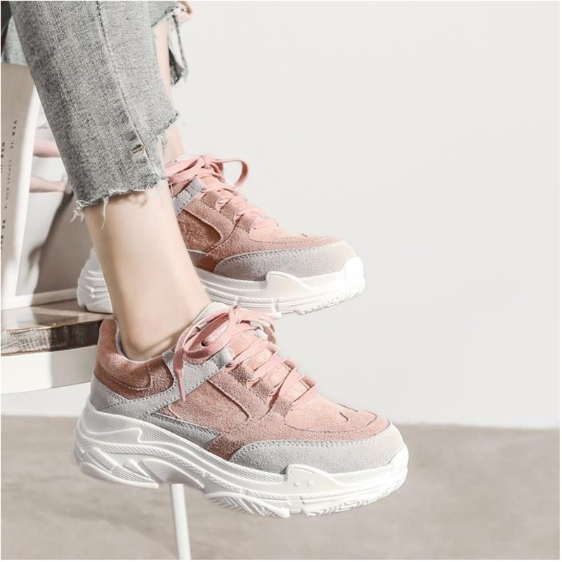 2020 Spring <font><b>Women</b></font> Chunky Sneakers Ulzzang Fashion Platform Pink Lace Up Casual <font><b>Shoes</b></font> 5cm Ladies Leather Vulcanized <font><b>Shoes</b></font> Woman image