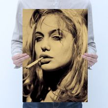 Room decoration star Angelina Jolie poster retro animal kraft bar cafe decoration painting art wall sticker