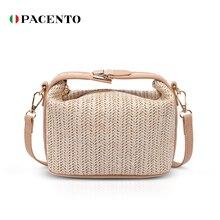 Pacento соломы ведро Сумка для женщин лета 2020 тканые плеча сумки кошелек сумочка соломы Пляжные сумки путешествия сумка кошелек bolsos