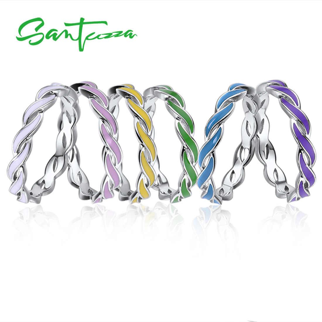 SANTUZZA 925 เงินสเตอร์ลิงแหวนเงินผู้หญิงที่มีสีสัน Twisted Stackable แหวน Eternity แหวนแฟชั่นเครื่องประดับทำด้วยมือเคลือบ