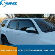 สีดำด้านข้าง deflectors หน้าต่าง Rain GUARD ประตู Visor สำหรับ Toyota 4Runner 2016 2017 2018 ลมโล่ลม SUNZ