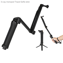 Go pro 3-Way Hand Grip Tripod Mono-pod Selfie Stick for Gopro 8 7 6 5 4 3 SJ4000 SJ8Pro Yi 4K DJI OSMO Action Camera Accessories portable hand grip waterproof selfie stick pole tripod for gopro hero 7 6 5 4 sjcam eken yi 4k dji osmo action camera accessory