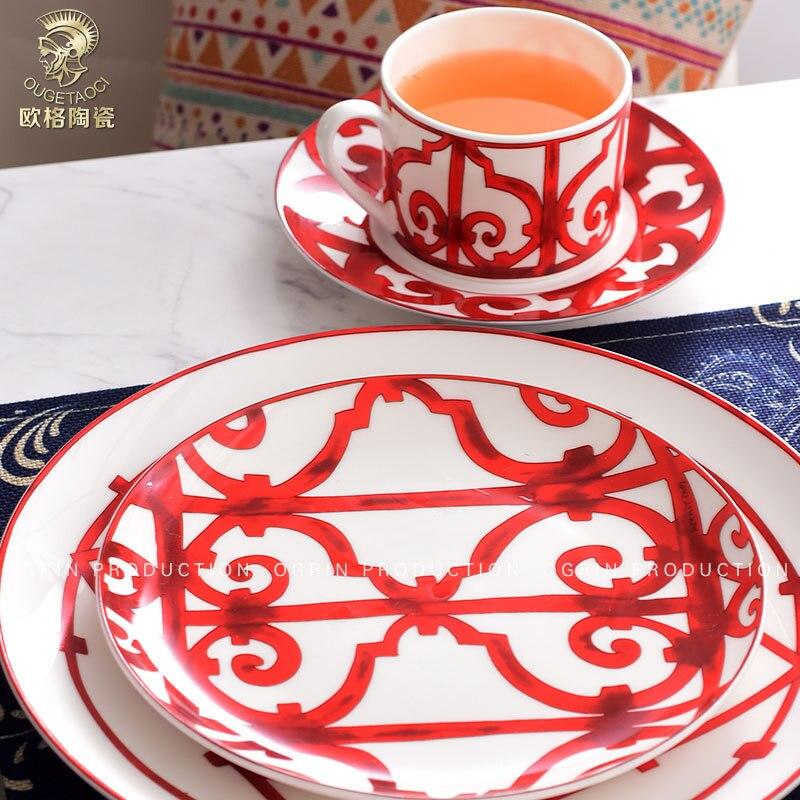 Assiettes à aliments en céramique os occidental | Ornements en porcelaine, décorations de table, tasses et soucoupes ustensiles de cuisine (pas de cuillère inclus)