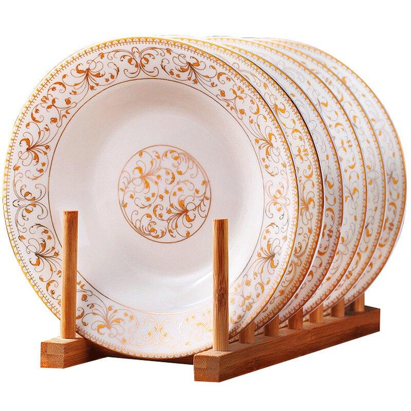 Vaisselle en porcelaine 8 * pouce | Ensemble de vaisselle de salle à manger américaine en céramique, assiettes de soupe profonde, os de Jingdezhen, assiettes de Sushi 6 pièces/ensemble