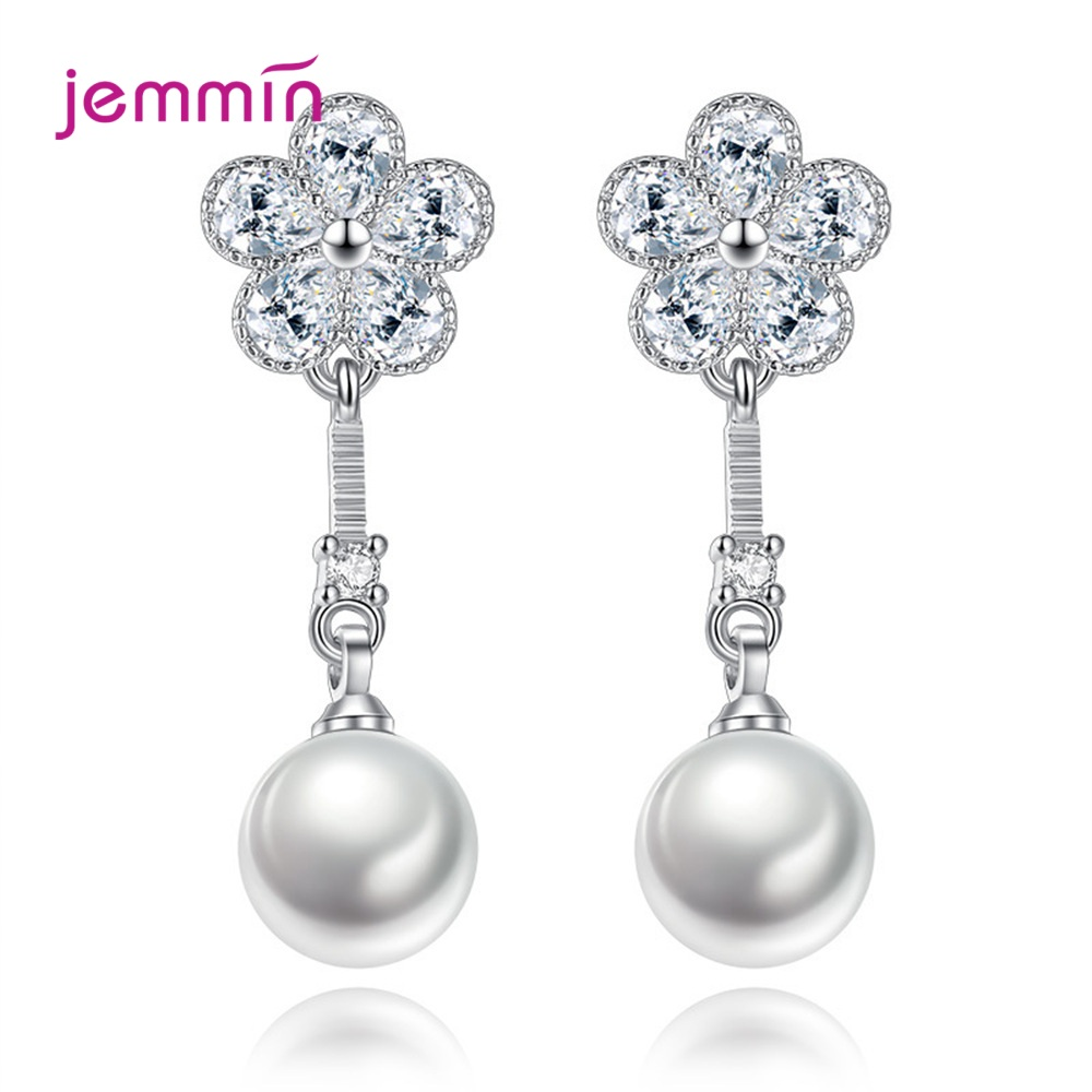 White Pearls Eardrop 925 Sterling Silver Hanging Drop Earrings For Women Bridal Wedding Cubic Zircon Tassel Jewelry