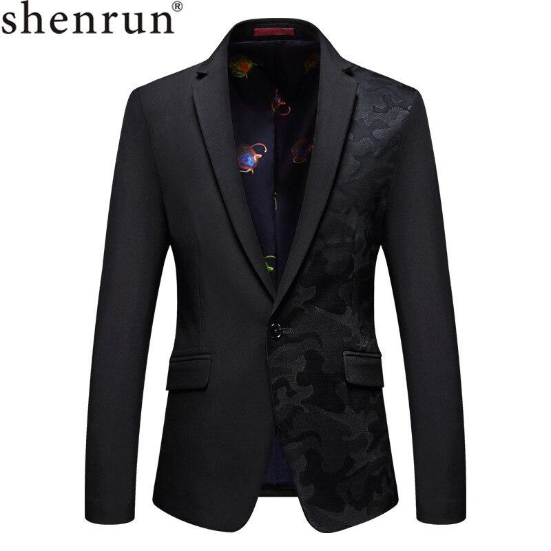 Shenrun hommes veste Blazers décontracté Slim Fit mode marié costume veste chanteur hôte musicien batteur mariage scène Costumes