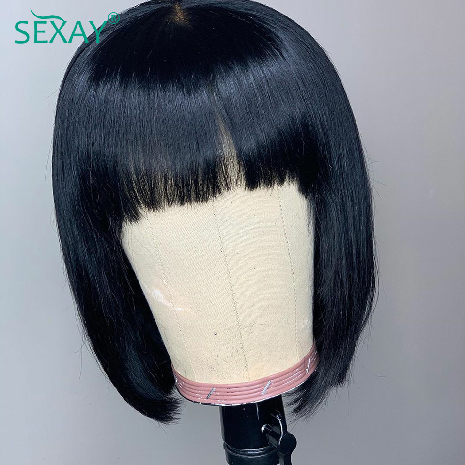 SEXAY Short Human Hair Bob Wigs With Fringe Bangs 6-14inch Brown Elastic Cap Remy 150% Full Machine Wig Glueless Human Hair Wigs