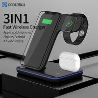 Coolreall 3in1 rápido carregador sem fio doca suporte para iphone 11 pro max samsung iwatch 4 3 2 1 airpods wirless estação de carregamento