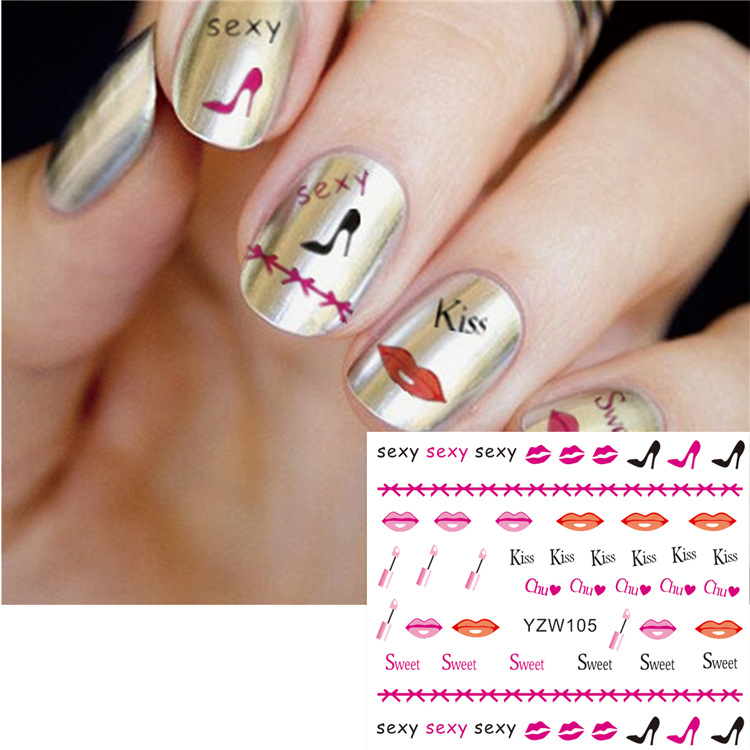 Manicure Watermarking Adhesive Paper Red Lipstick Bottle High Heel Shoes Heart Sweetheart Phototherapy Flower Stickers Japan Sou
